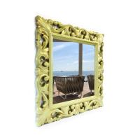 Square Mirror ALDA 90x90cm Green paint with gold patina